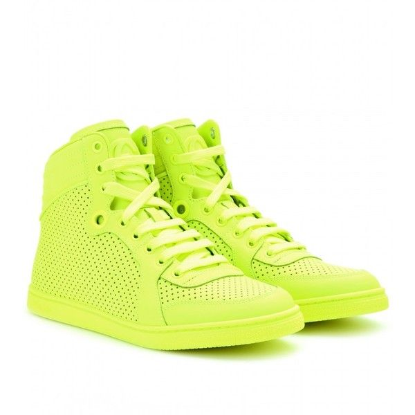 separation shoes d4af3 c05e1 Gucci Neon Leather High-Top Sneakers