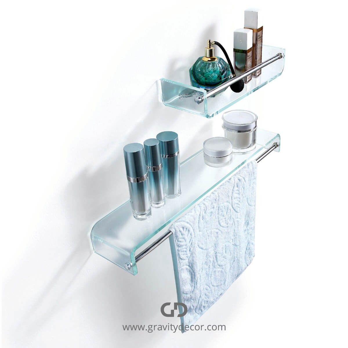 STYLISH BATHROOM GLASS SHELF WITH CHROME TOWEL BAR $79.99 IN STOCK ...