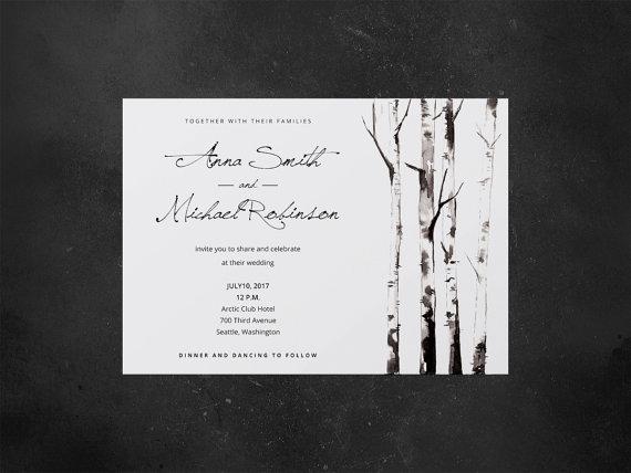 Wedding invitation, printable invitation, wedding invitation - invitation template nature