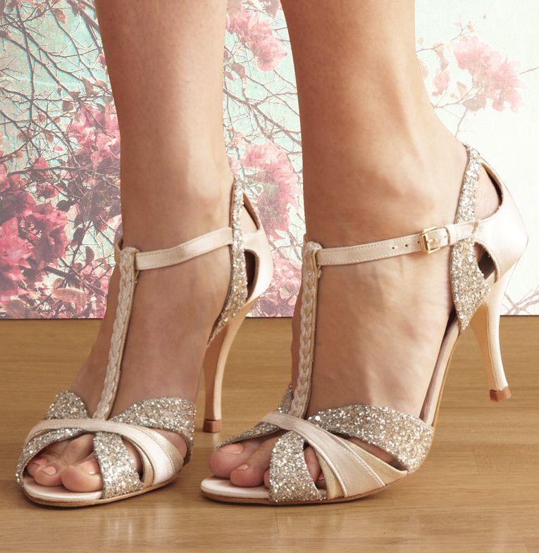 Scarlett Cream Satin And Glitter T Bar Bridal Shoes Love Art Wear