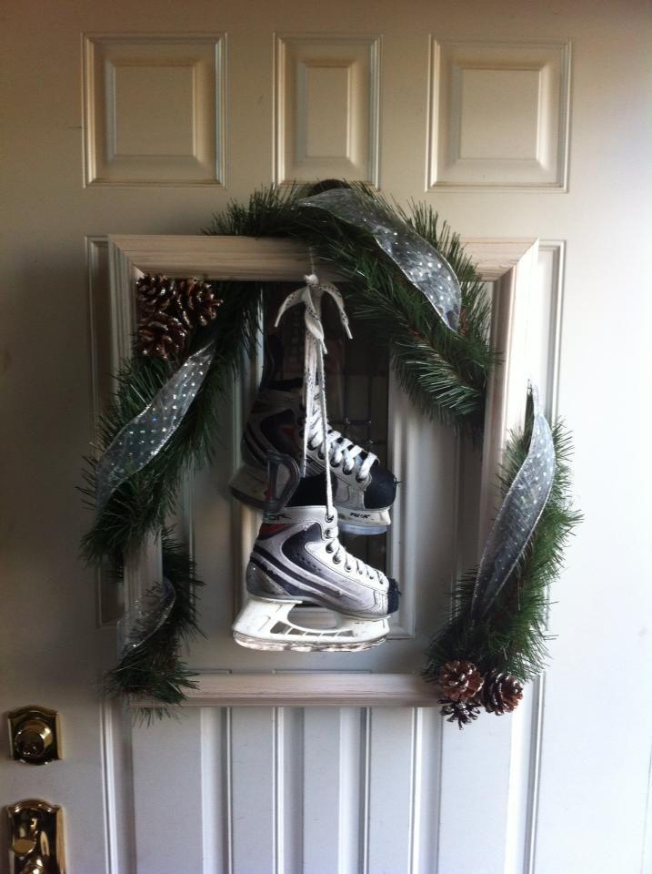 Wreath for front door... empty picture frame, garland ...