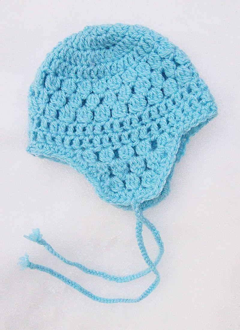 Crocheted Ear Flap Hat For Baby Crochet Baby Hats Crochet Beanie Pattern Crochet Hat Pattern