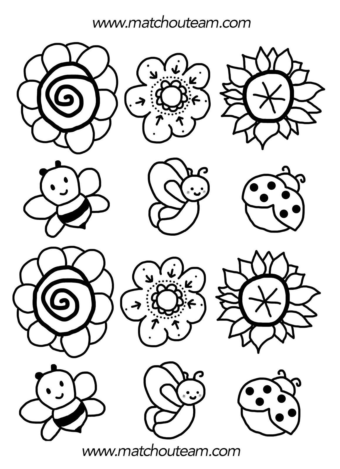 Bouquet de printemps coloriages de fleurs coloriage de - Dessin de printemps ...