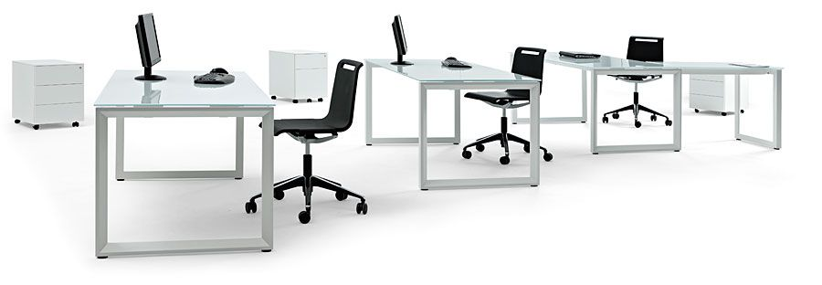 37 / 42 . Vital Plus ST/60 L shaped for managers with modesty flap chrome legs and white glass top