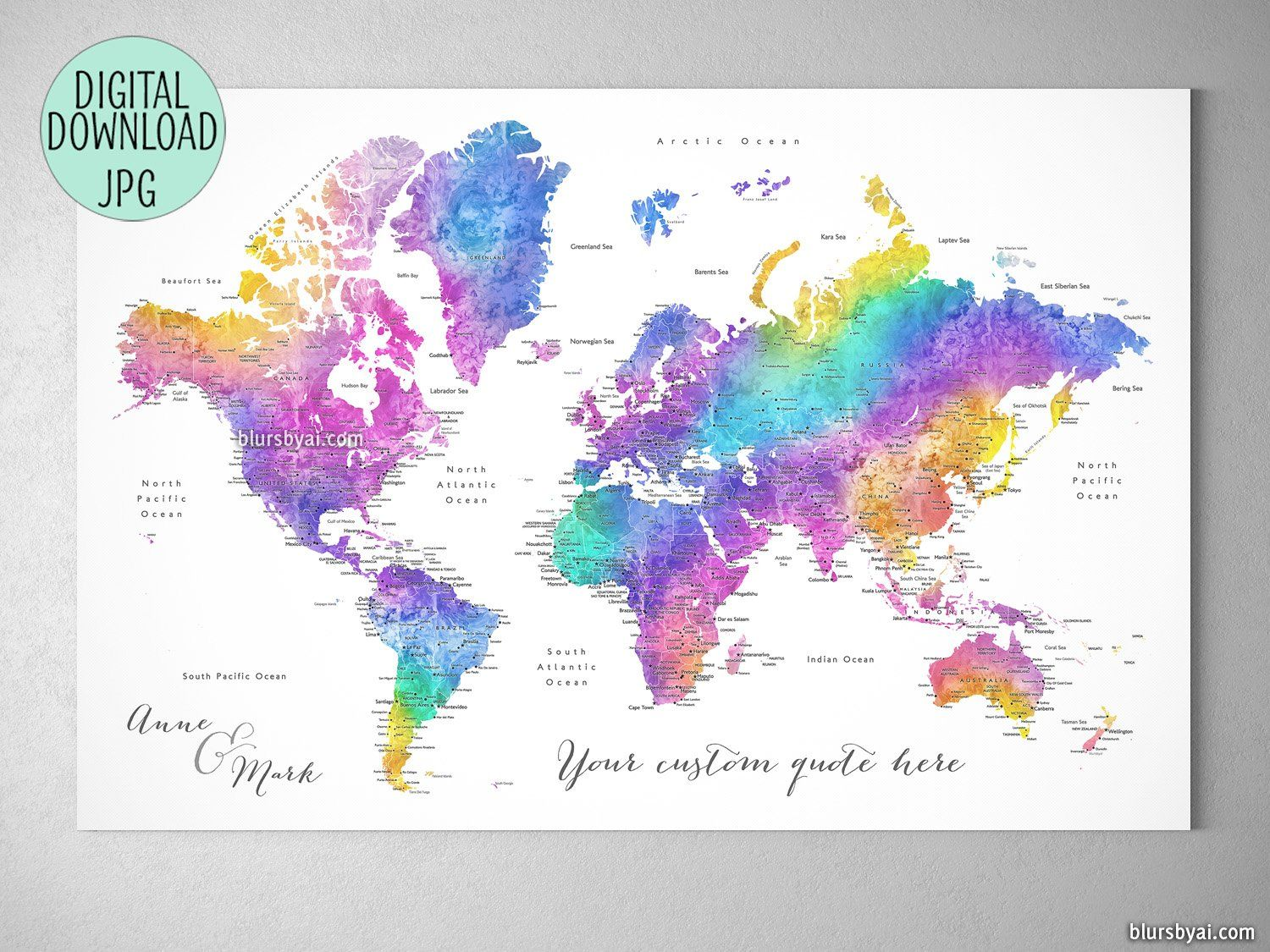 Custom quote printable world map with cities in bright ...