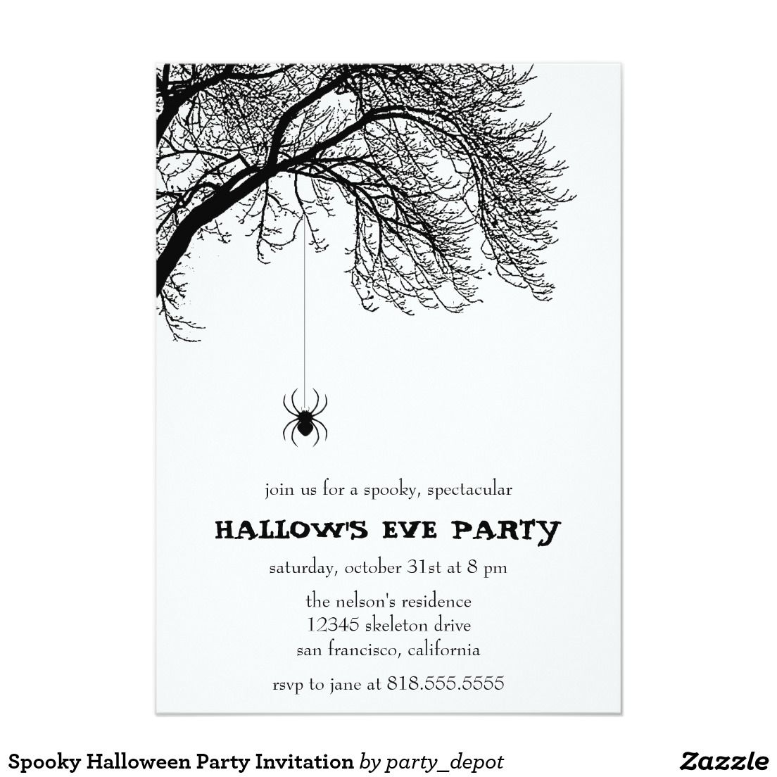 Spooky halloween party invitation trick or treat halloween party spooky halloween party invitation stopboris Choice Image