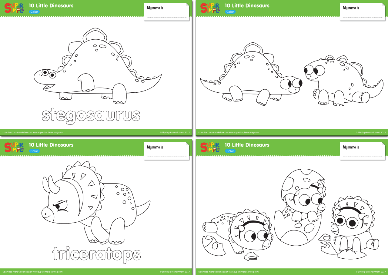 10 Little Dinosaurs Worksheets – Color | Super Simple | dinosaurs ...