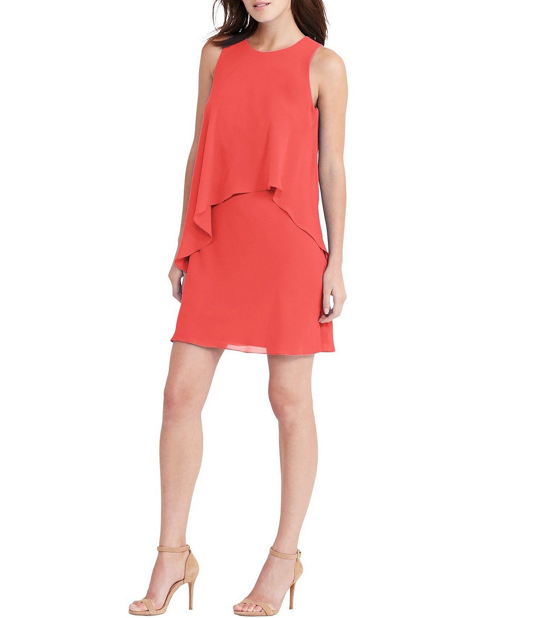 Lauren Ralph Lauren Georgette Overlay Shift Dress #Dillards