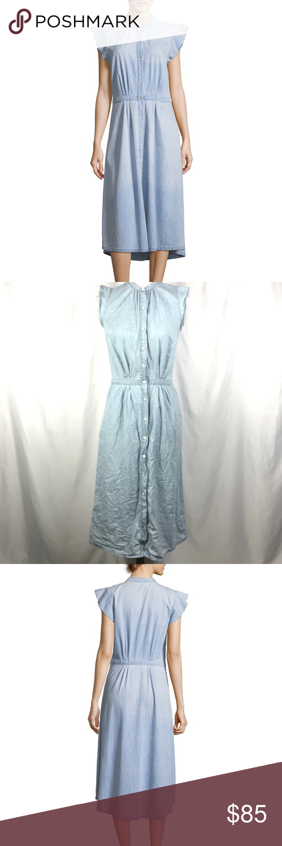 120bef0dfc Joie Awel Chambray Dress Button-Front Midi Sleevel Joie Awel Chambray Dress  Button-Front