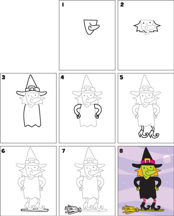 How To Draw A Witch Dessins Faciles Comment Dessiner Une