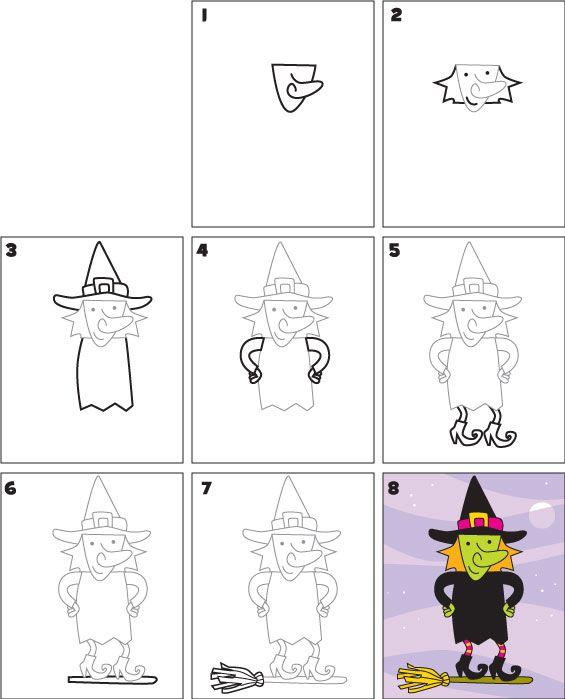 Comment Dessiner Une Sorcière : comment, dessiner, sorcière, Witch, Scoop, Drawing,, Homeschool, Halloween, Drawings