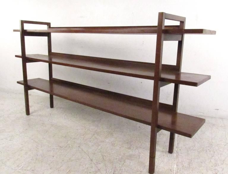 This Unique Mid Century Bookshelf Features Three Open Back Walnut Shelves With A Slight Raised Low Bookshelves Mid Century Modern Shelves Mid Century Bookcase