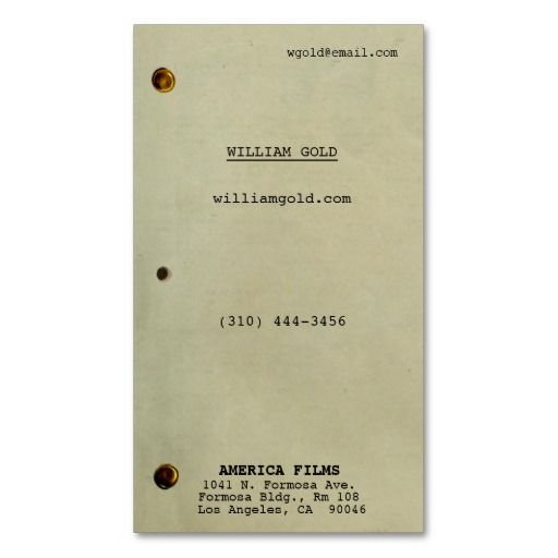 Screenplay Vintage Business Card  Lights Camera Action