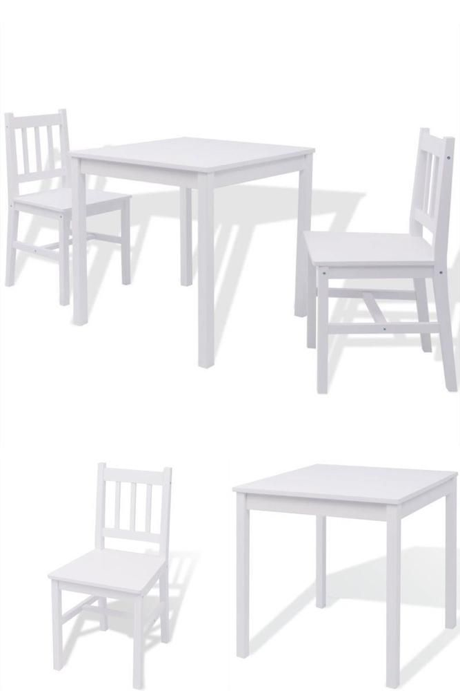 White Wooden Table And Chairs Indoor Bistro Set Kitchen Dining Room Furniture