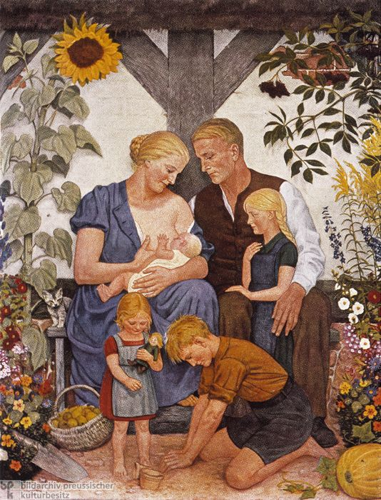 "The Aryan Family is a print after a painting by Wolfgang Willrich. It depicts what could be described as the quintessential Aryan family. With their sunshine-blond hair, strong jaw lines, chiseled ""Nordic"" features, and rosy-red cheeks, the members of this family of six could have easily appeared as ""Aryan"" ideals in the Nazi propaganda series ""Blood and Soil."""