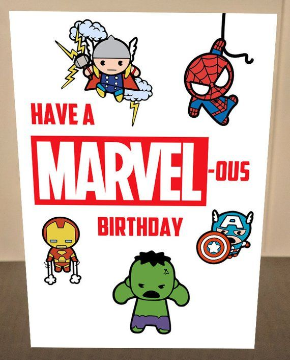 Marvel Birthday Card Avengers Birthday Card Have A Marvelous Etsy Birthday Card Drawing Kids Birthday Cards Happy Birthday Superhero