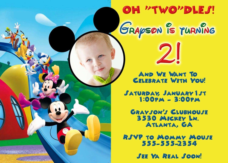 Mickey Mouse Birthday Invitations Template Fresh Mickey