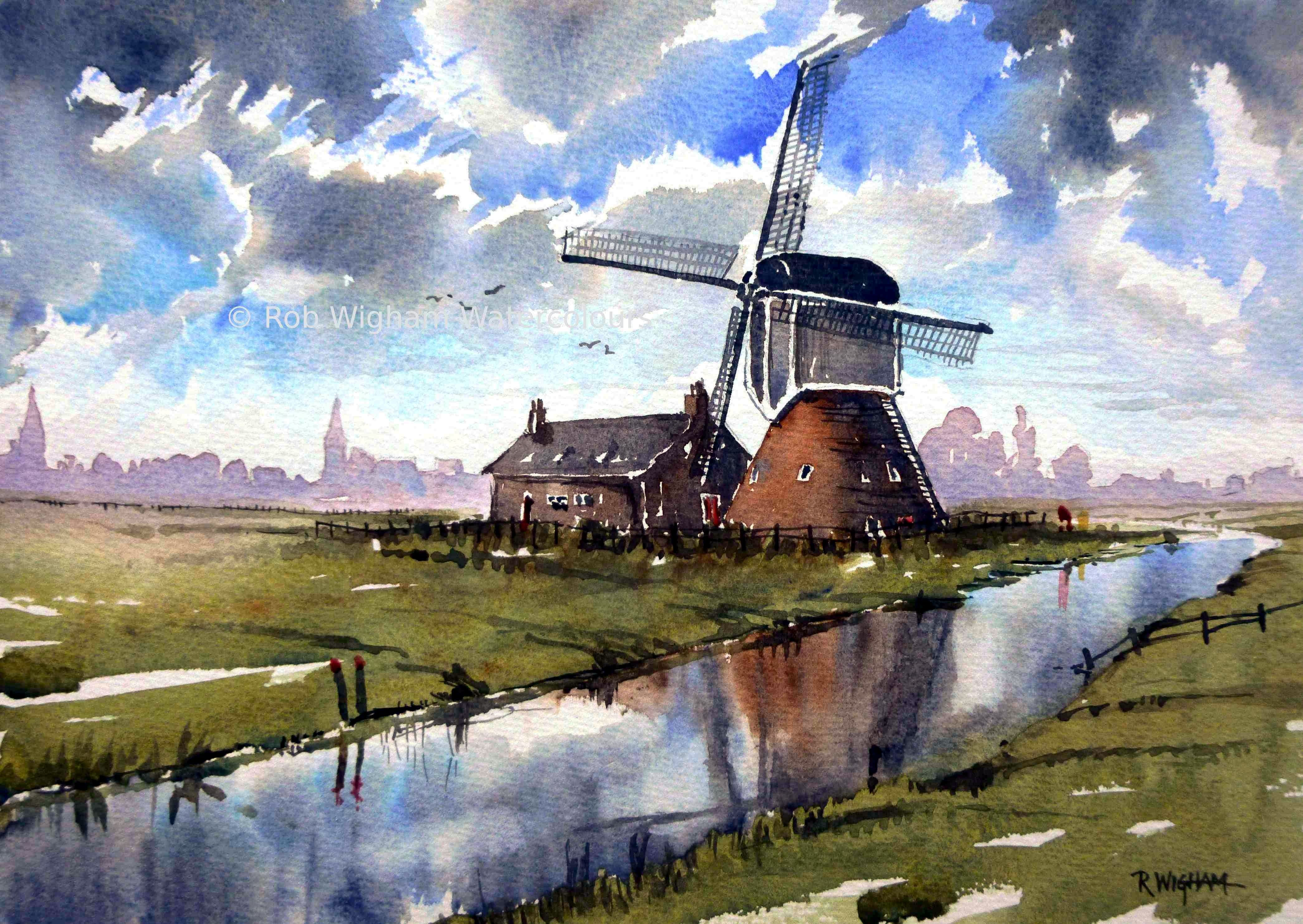This Is Windmill Near Leiden Watercolour 14 X 10 I Couldn T