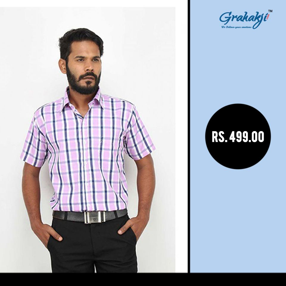 b3aebf7437f Dark Pink Pc Cotton Check Half Sleeves Shirt For Men  CheckShirts   FormalShirts  CottonShirts  ShirtsForMen  online  shopping