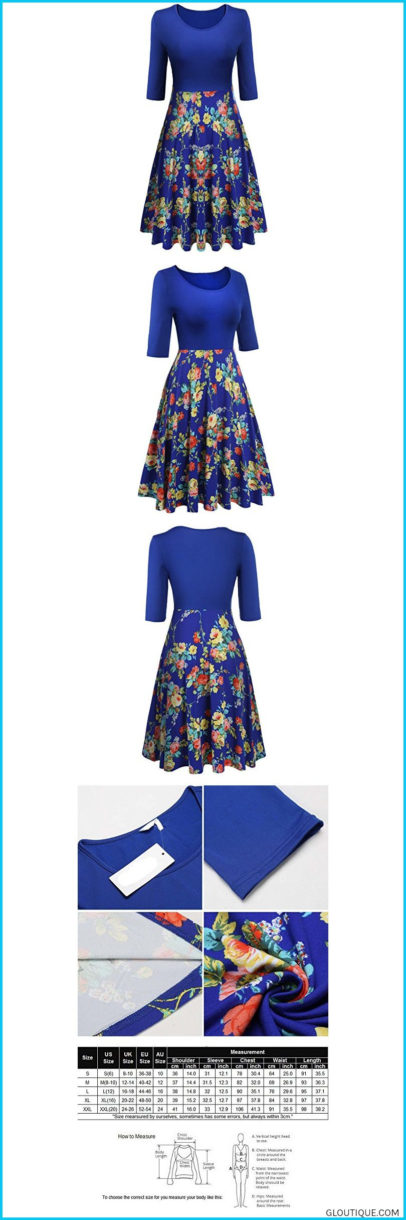 f9702fed0 Comfortable and Breathable With Good ELastic. Skin-friendly. ELegant Fit  and Flare Dress feat#fashionELESOL Women's Floral Knee Length Cocktail  Party Dress?