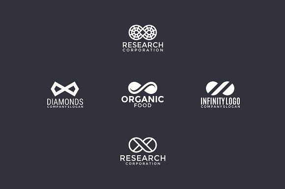 5 logos with infinity sign templates 5 logos with infinity sign all colors and text can be modified vector ai eps pdf and cdr file by pne design