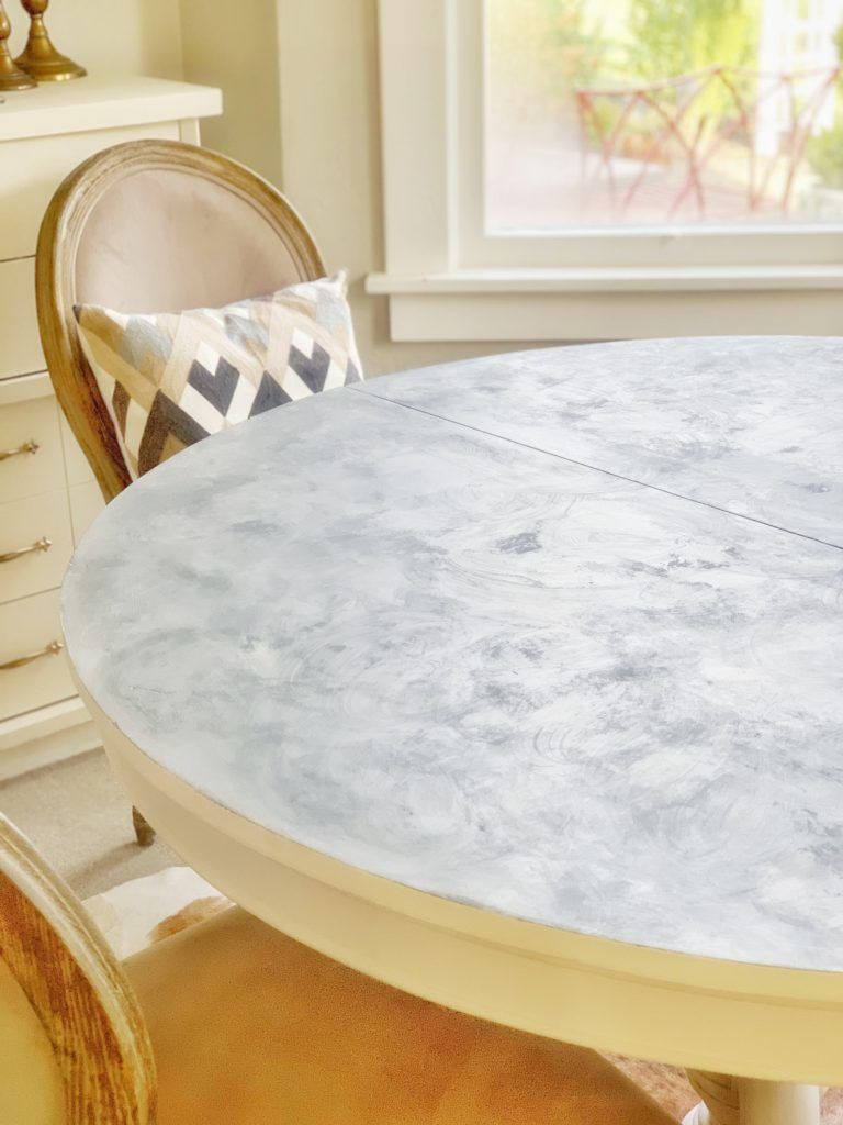 Faux Marble Chalk Painted Table Top Tutorial Hallstrom Home Painted Table Tops Painted Table Chalk Paint Table