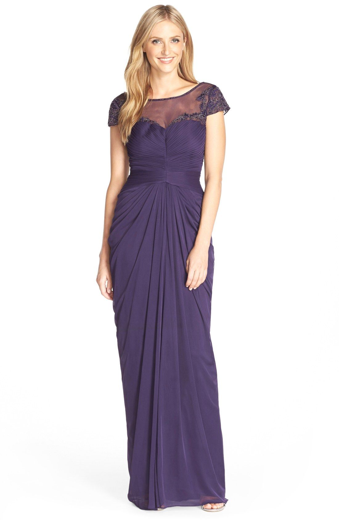 Adrianna Papell Lace Yoke Drape Gown