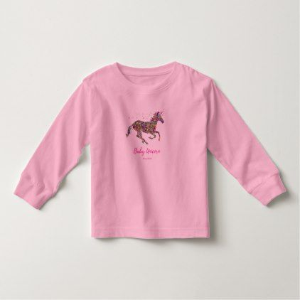 Toddlers Long Sleeve T-Shirt. Pink Unicorn design Toddler T-shirt - toddler youngster infant child kid gift idea design diy