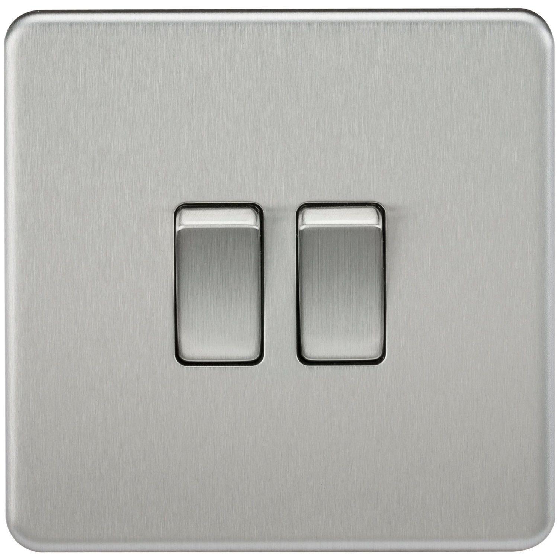 Knightsbridge SF3000BC 10 A 2-Gang 2-Way Screwless Switch - Brushed ...