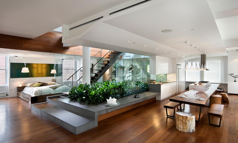 Modern Loft Indoor Garden White Walls Hardwood Floors Design House