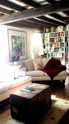 17th Century English Cottage Sitting Room Sofa Bluebell Sofas Dark Wood Floorboards