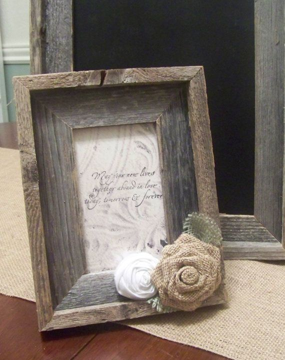 Barn Wood Rustic Picture Frame with Burlap