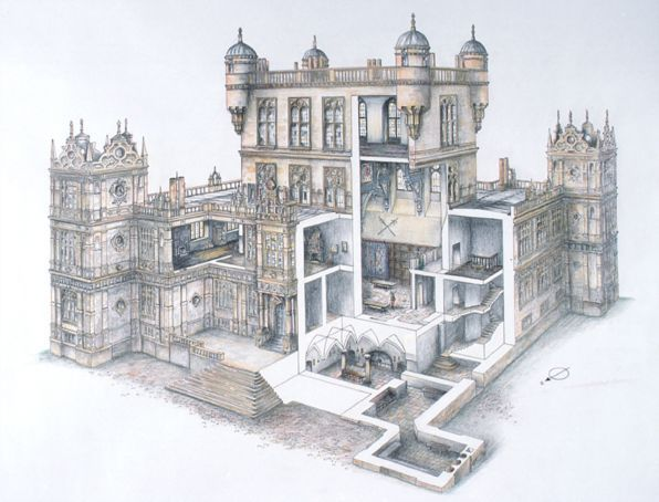 A cutaway drawing of Wollaton Hall, Nottinghamc1590 by David - best of blueprint architecture nottingham