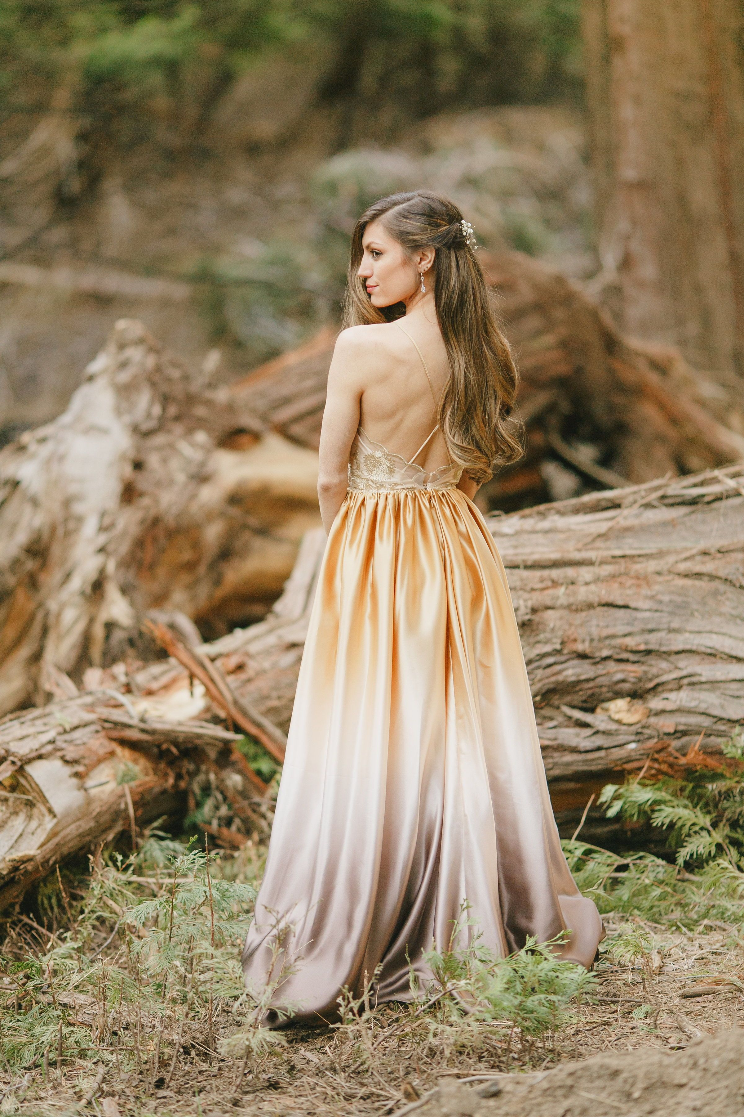 Unique Gold Ombre Gown Enchanting Satin Maxi Dress With Open Back Forest Engagement Photos Forest Engagement [ 3600 x 2400 Pixel ]