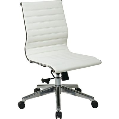 Osp Furniture Mid Back Eco Leather Armless Office Chair White