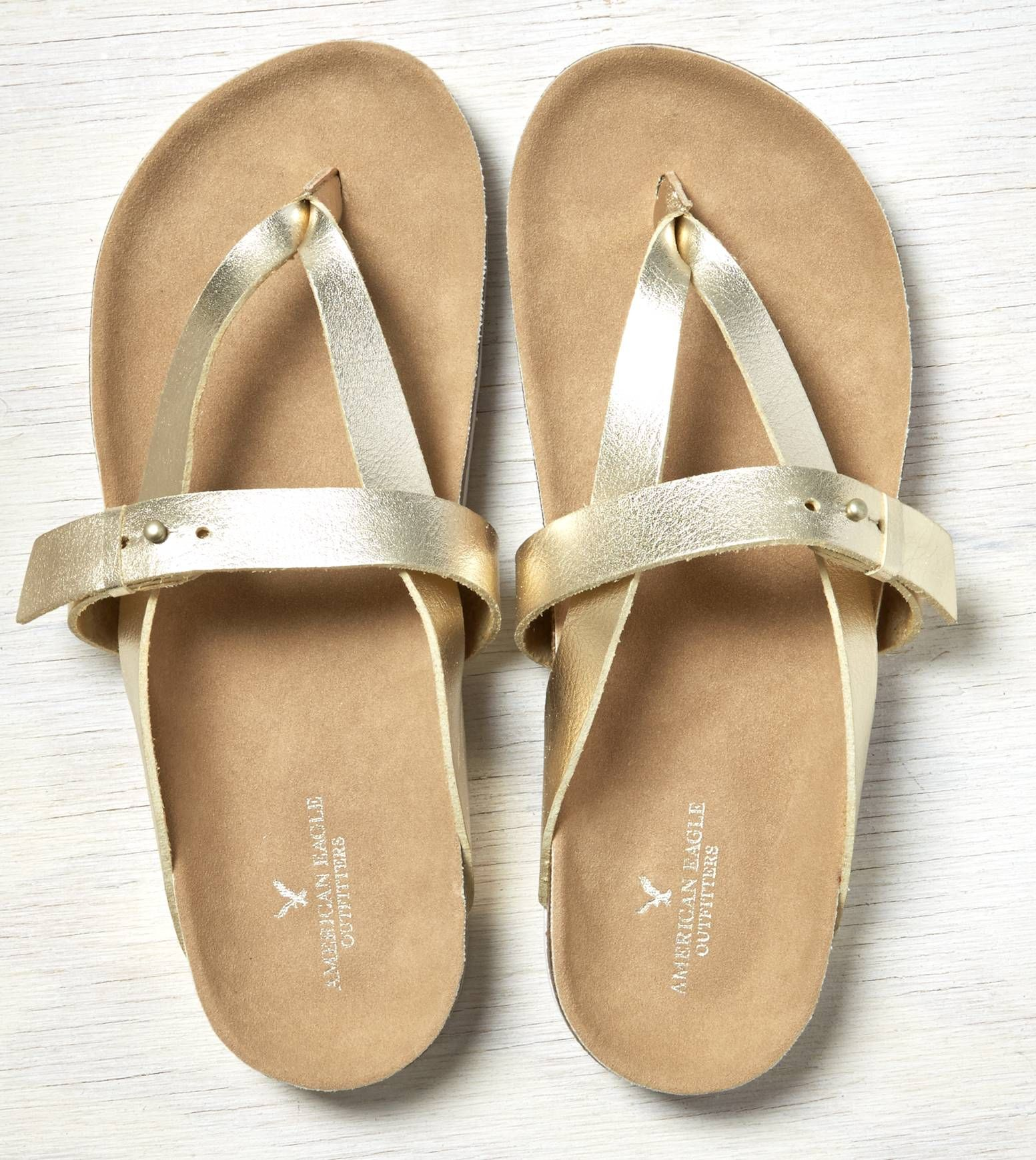 Gold AEO Cross Strap Sandal
