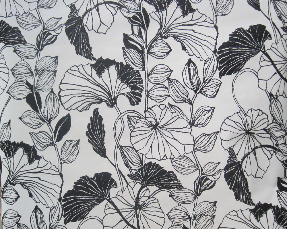 ASHFORD HOUSE BLACK WHITE LARGE FLOWERS LEAVES Wallpaper DOUBLE ROLL