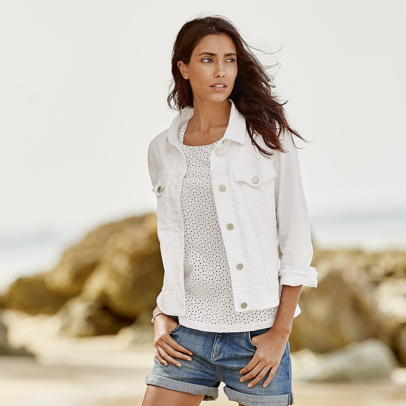 Brompton Denim Jacket - White from The White Company ... b5a0afdc4