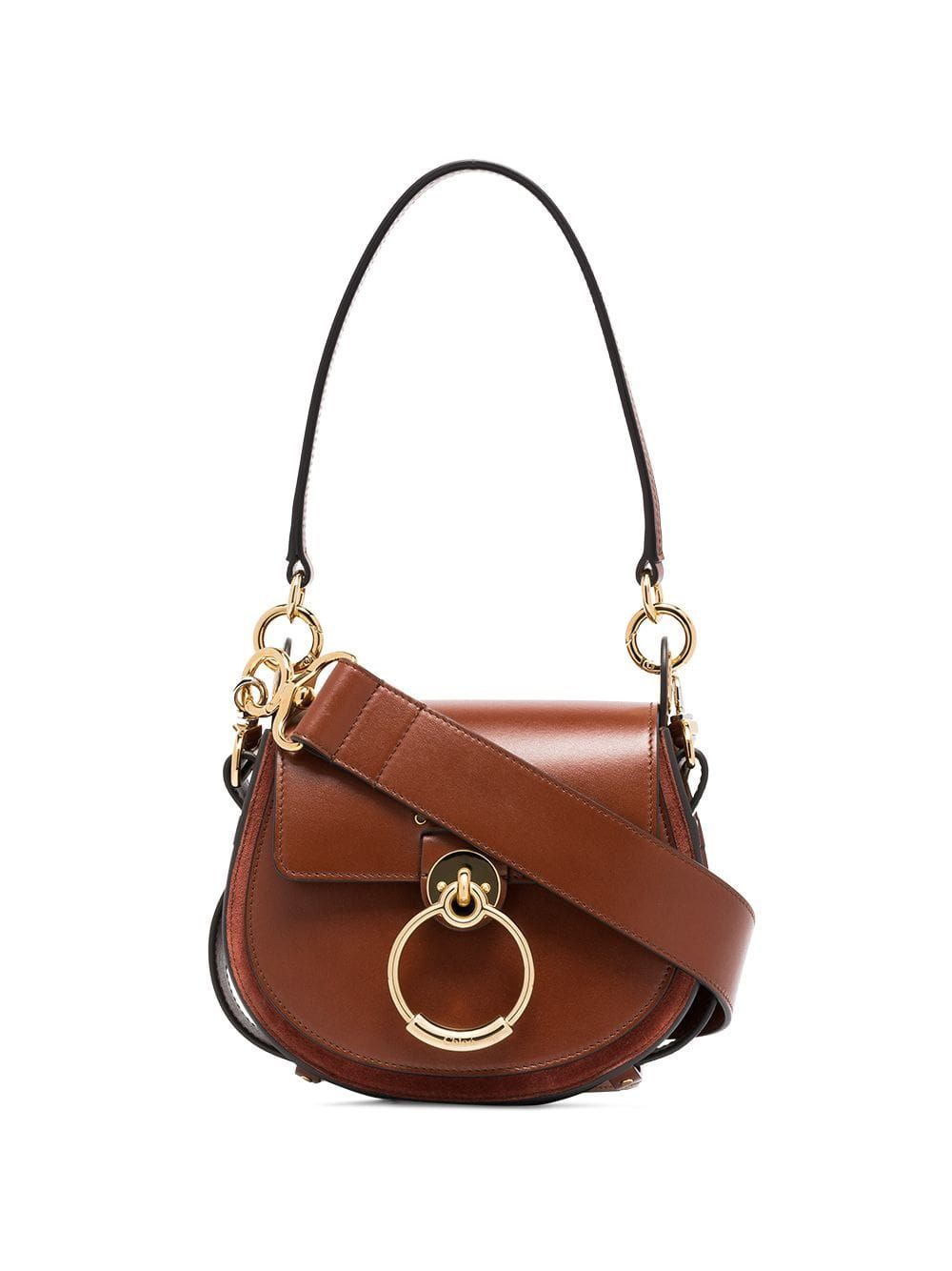 395873319a82 Chloé brown tess leather and suede shoulder bag