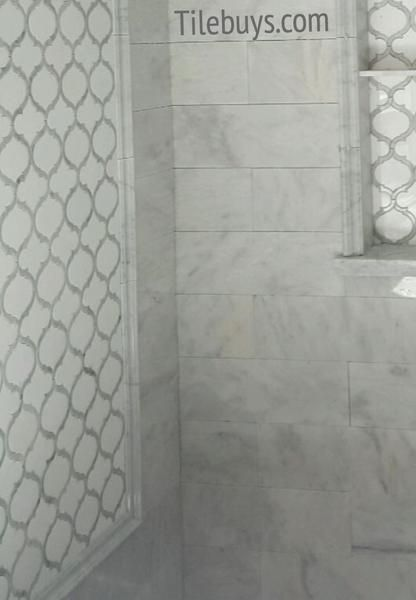 White Thassos And Carrara Marble Waterjet Mosaic Tile In Arabesque Marrakech Bathrooms Remodel Bathroom Design Waterjet Mosaic Tile
