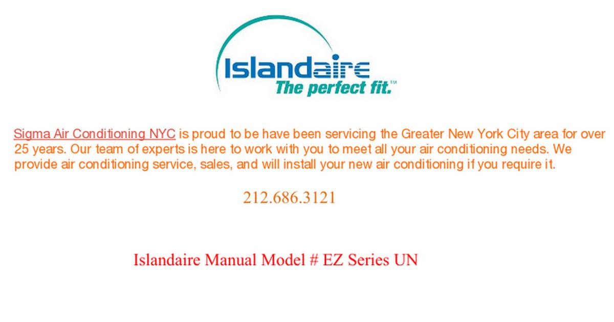 Islandaire Manual Model EZ Series UN Air conditioning