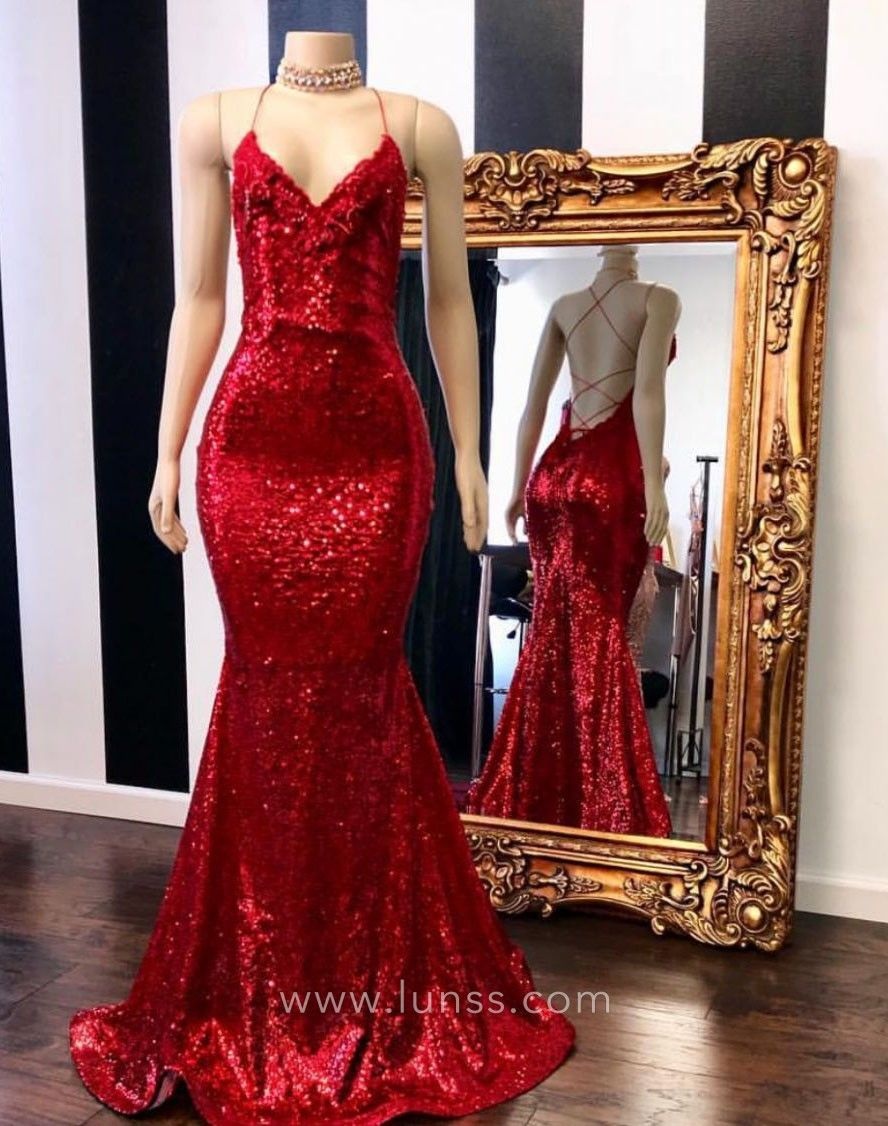 Timeless Red Sequin Vneck Spaghetti Straps Open Back Trumpet Prom