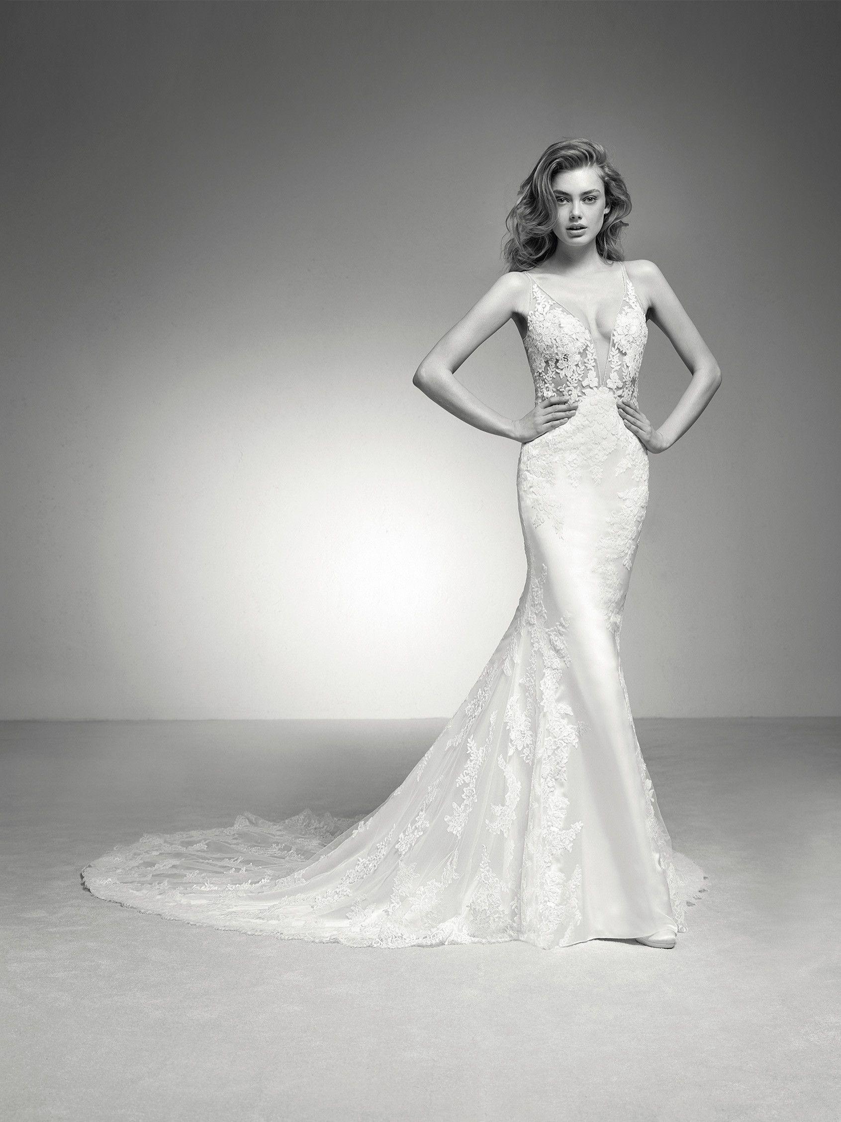 Ileas: Brautkleid im Meerjungfrau-Stil mit tiefem Ausschnitt und ...