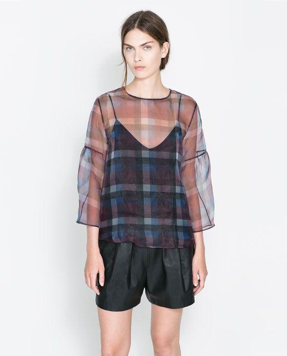 fb77f8837 Imagen 1 de BLUSA ORGANZA CUADROS de Zara | blusas | Camisa de ...