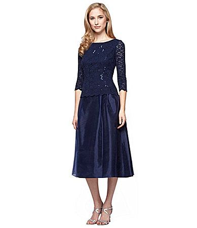 Alex Evenings Petite Sequin Detail Tea-Length Mock Dress | Dillards