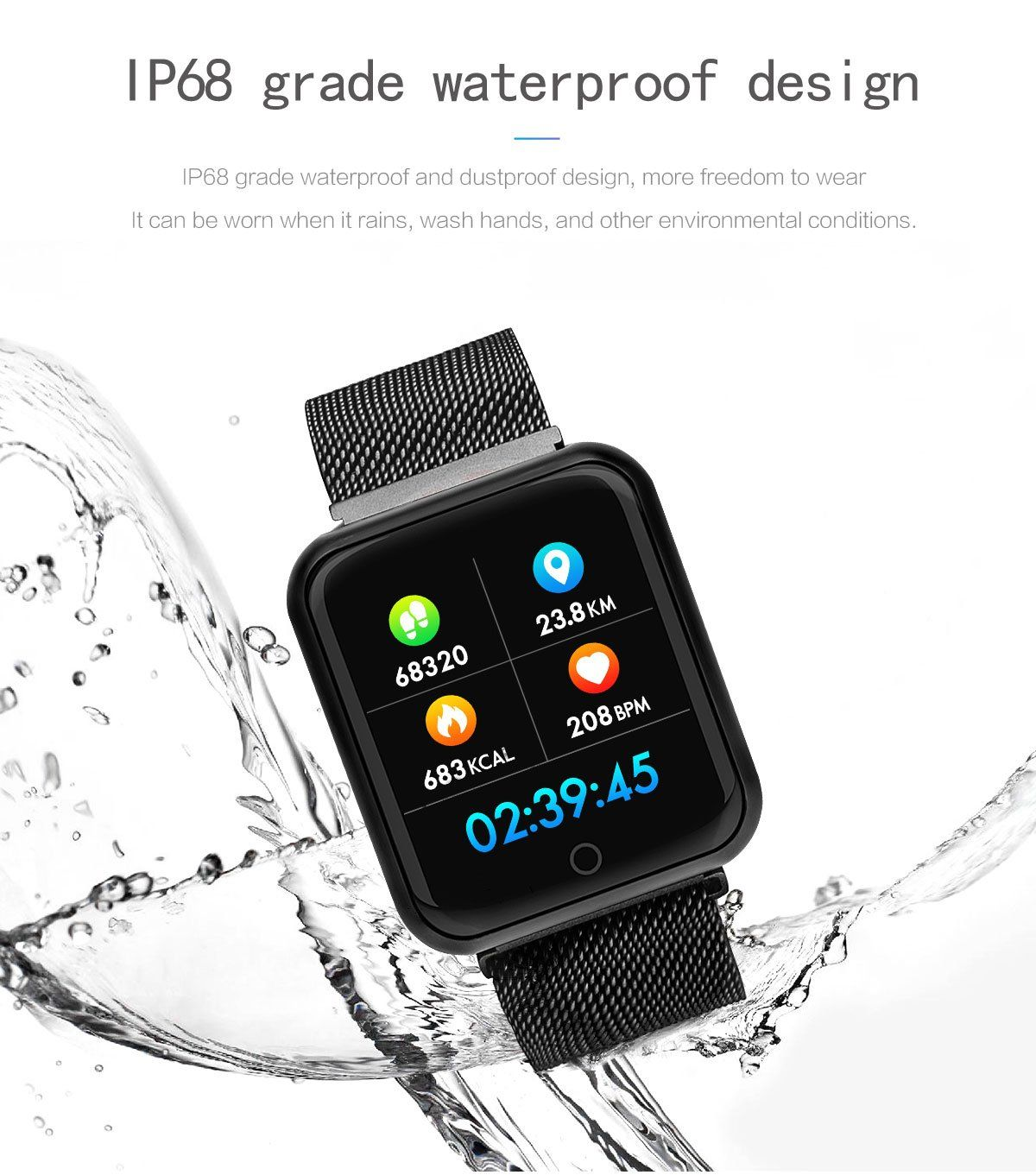 4330efb87 Kooman Smart Bracelet Ip68 Waterproof Heart Rate Monitor Fitness Tracker  Bluetooth Wristband Color Screen Monitor Sport Smartband for Android iOS  Black ...