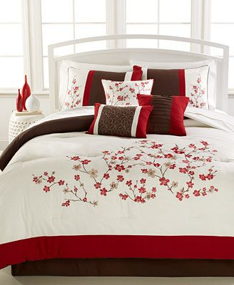 Kira 7 Piece Embroidered Cherry Blossom Comforter Set Comforter