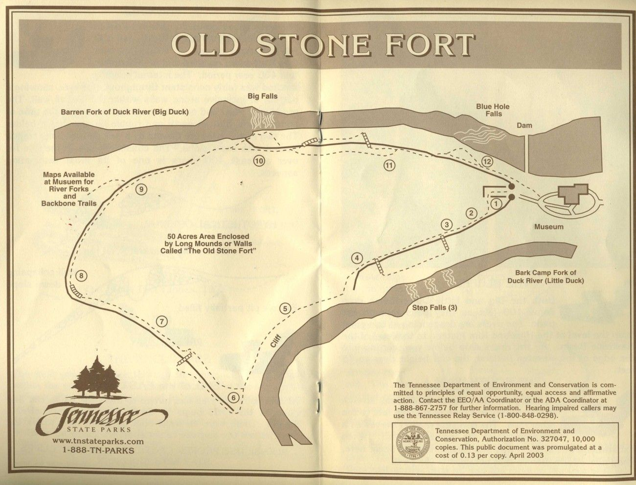 Map Of Old Stone Fort Archeological Area Inmanchester