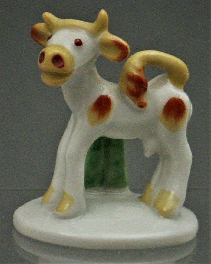 (AB) Walter Bosse Kuh Groteske Metzler & Ortloff Porzellan Miniatur Art Deco