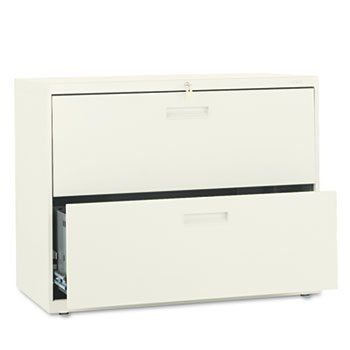 500 Series Two-Drawer Lateral File, 36w x28-3/8h x19-1/4d, Putty by HON (Catalog Category: Furniture & Accessories / File Cabinets) by Hon. $421.30. 500 Series Two-Drawer Lateral File, 36w x28-3/8h x19-1/4d, Putty by HONAn excellent choice for a small office or home office setting. Heavy-duty three-part telescoping slide suspension operates on steel ball bearing suspension. Mechanical interlock allows only one drawer to open at a time to inhibit tipping. Four adjustab...